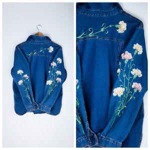 Bob Mackie Carnation Embroidered Denim  Shirt